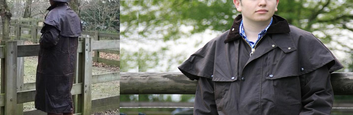 Manteau en coton huilé imperméable. Huntex