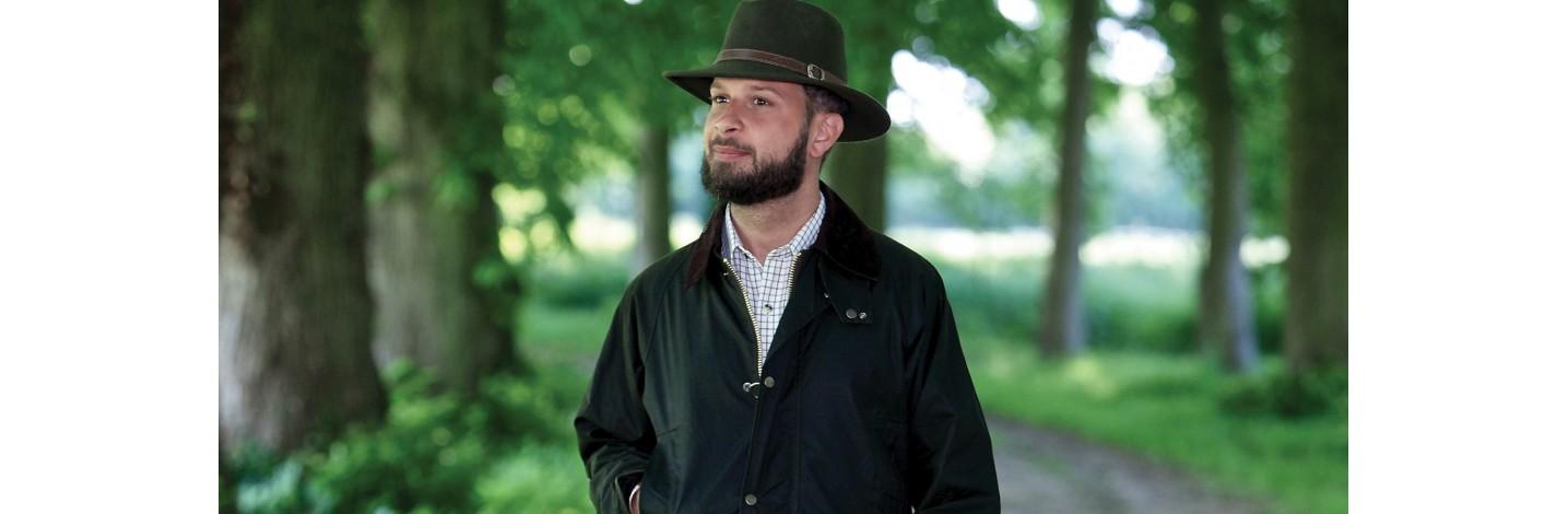 Chapeu en coton huilé, casquette tweed Huntex